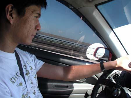 Marc driving the Adsense car
